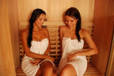 Two Girls Relaxing in Vitra Far Infrared Sauna