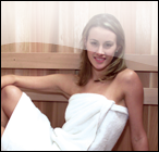 Girl relaxing in a sauna bath