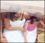 Family bathing together in a sauna