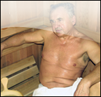 Tony Brechkow relaxing in a Finnish-style Sauna